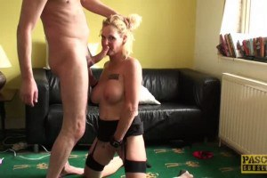 Busty British mature sub rides and sucks maledom's dick