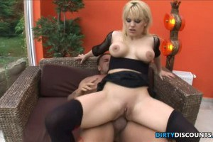 Ultra busty blonde assfucked after fisting