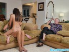 Teen cutie sucks and rides geriatric dick for a mouthful of cum