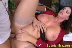 Busty Latina secretary gets her wet pussy fucked hard at the office