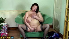 BBW British mature masturbates for the camera  - duration 06:14