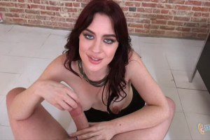Blue eyed redhead Jessica Ryan gives outstanding POV handjob