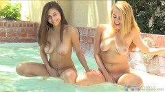 Nina Hartley and her girlfriend using toys after lesbian fun in the pool