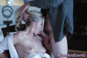 Passionate blonde facialized after footjob and sucking cock