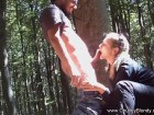 Blonde amateur sucks dick in the forest before sex