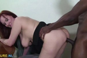 Redhead mature pussyfucked by BBC after giving head