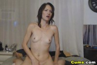 Skinny brunette amateur gives blowjob before cock-ride