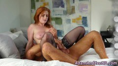Most appetizing redhead in lingerie fucked and cumsprayed