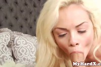 Appetizing blonde petite fucked hard and jizzed after blowjob