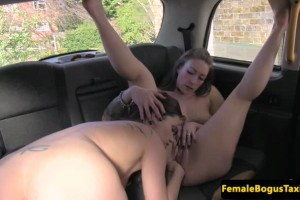 Hot passenger pays female cabbie with lesbian sex