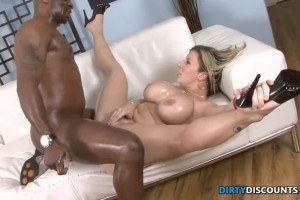 Busty blonde MILF with oiled up titties fucks BBC