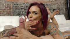 Alt MILF Anna Bell Peaks jerks off husband's best friend