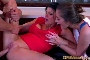 Two appetizing CFNM babes share stripper's cock