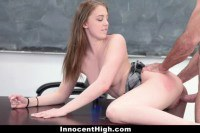 Enticing teen schoolgirl fucked for cum on her titties