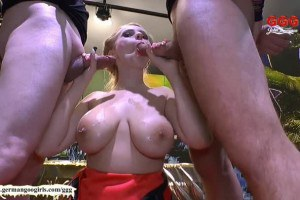 Busty pornstar Angel Wicky gets her hooters covered in jizz