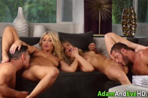 Classy blondes licked and fucked during fantasy fourway