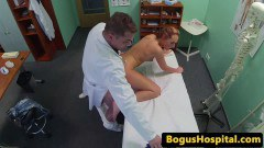 Babe patient fucked from behind and cumsprayed by horny doctor