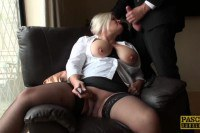 British blonde mature with huge titties uses dildo in front of maledom