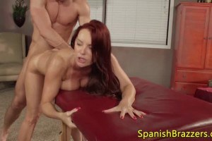 Spanish redheaded cougar fucked by the masseur