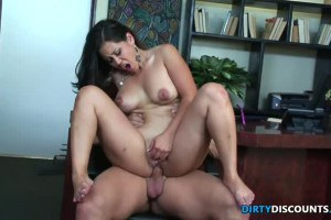 Curvy Asian secretary pounded roughly at the office