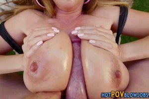 Asian MILF with huge hooters titty fucked and facialized outdoors