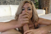 Beautiful blonde MILF takes care of POV dick