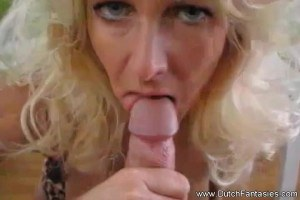 Busty blonde cockgobbler going wild while she sucks that dick