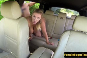 Busty european cabbie charges a fuck