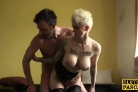 Tattooed UK slut uses wand while getting fucked in the ass by maledom