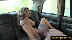 Blonde cab driver Rebecca More gets fucked on the backseat