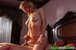 Busty blonde beauty handling her boys dick with ease
