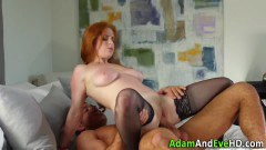 Blindfolded redhead in lingerie gets fucked and spunked