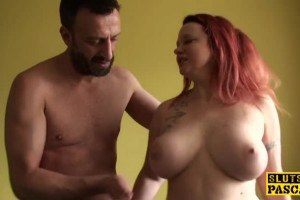 Red haired euro sub with big tits gets her ass smashed