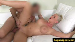Masturbating golden haired hottie blows on her toy and gets her dick storage damaged