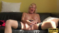 Busty british granny sucks and gets her pussy fingered