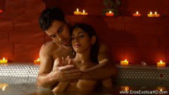 Ecstatic lovers bathe eachother in burning lust and passion