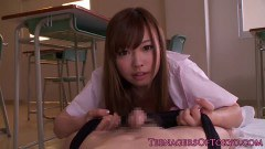 Naughty schoolgirl cummed in the school