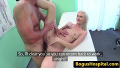 Stunning blonde European patient pounded by the doc on the exam table
