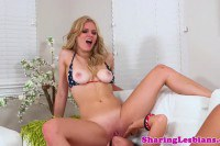Sweet blonde gets her pink muff eaten by girlfriend