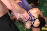 Purple haired BDSM slut taking it down her throat