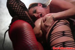 Rough loving lesbians fucked with strapon in trio