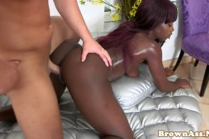 Big ass nubian babe doggystyled by a hard white cock