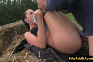 Stunning European amateur fucked outdoors and jizzed by fake agent