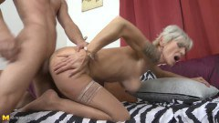 Granny in stockings can still ride cock