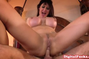 Big tits Brunette riding in reverse cowgirl position