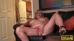 British mature rubs her juicy muff in front of the camera