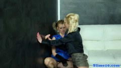 Blonde euro lesbians kissing and scissering each other