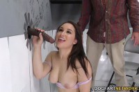 Busty Gabriella Paltrova prepares for black cock at the gloryhole