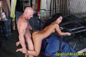 Tattooed Asian hottie fingered and fucked by bald dude