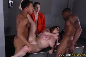 Busty mom Maggie Green fucked by black dicks in jail to keep her son safe